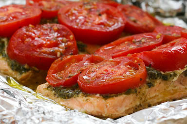 Foil Baked Salmon w/ Basil Pesto and Tomatoes | Basic Bites