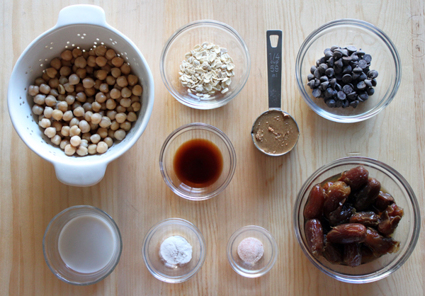 Ingredients for guilt-free chocolate chip cookie dough
