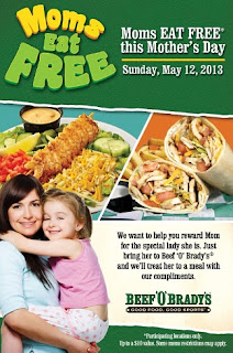 Free Meal for Moms at Beef 'O' Brady's on Mother's Day