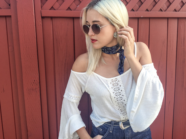 Boho style on fashion blogger Stone Fox Style in San Francisco – how to wear falls top trends, flares, bell sleeves and tied neck scarves for fall fashion 2015.