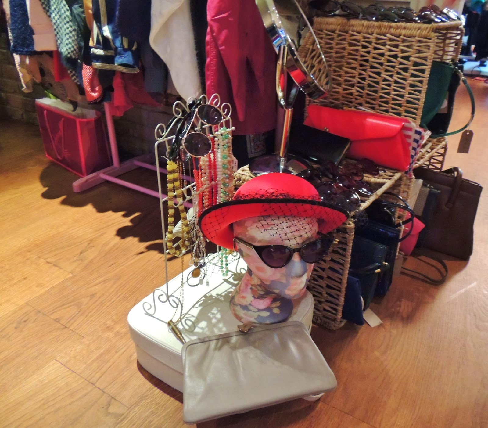 Vintage stall with red retro hat