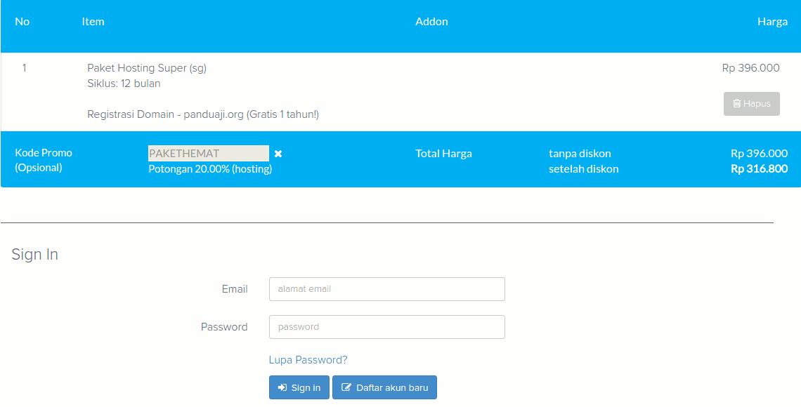 Paket Domain dan Hosting