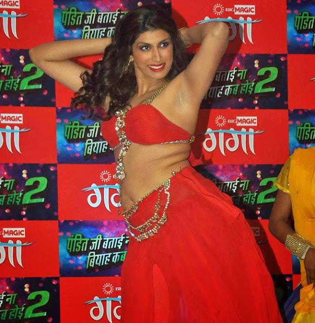 Shinjini Kulkarni in Red Ghagra Choli at her movie Music Launch