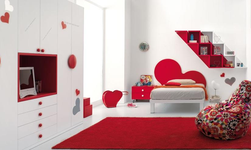 Interior Kamar Modern Warna Merah dan Putih