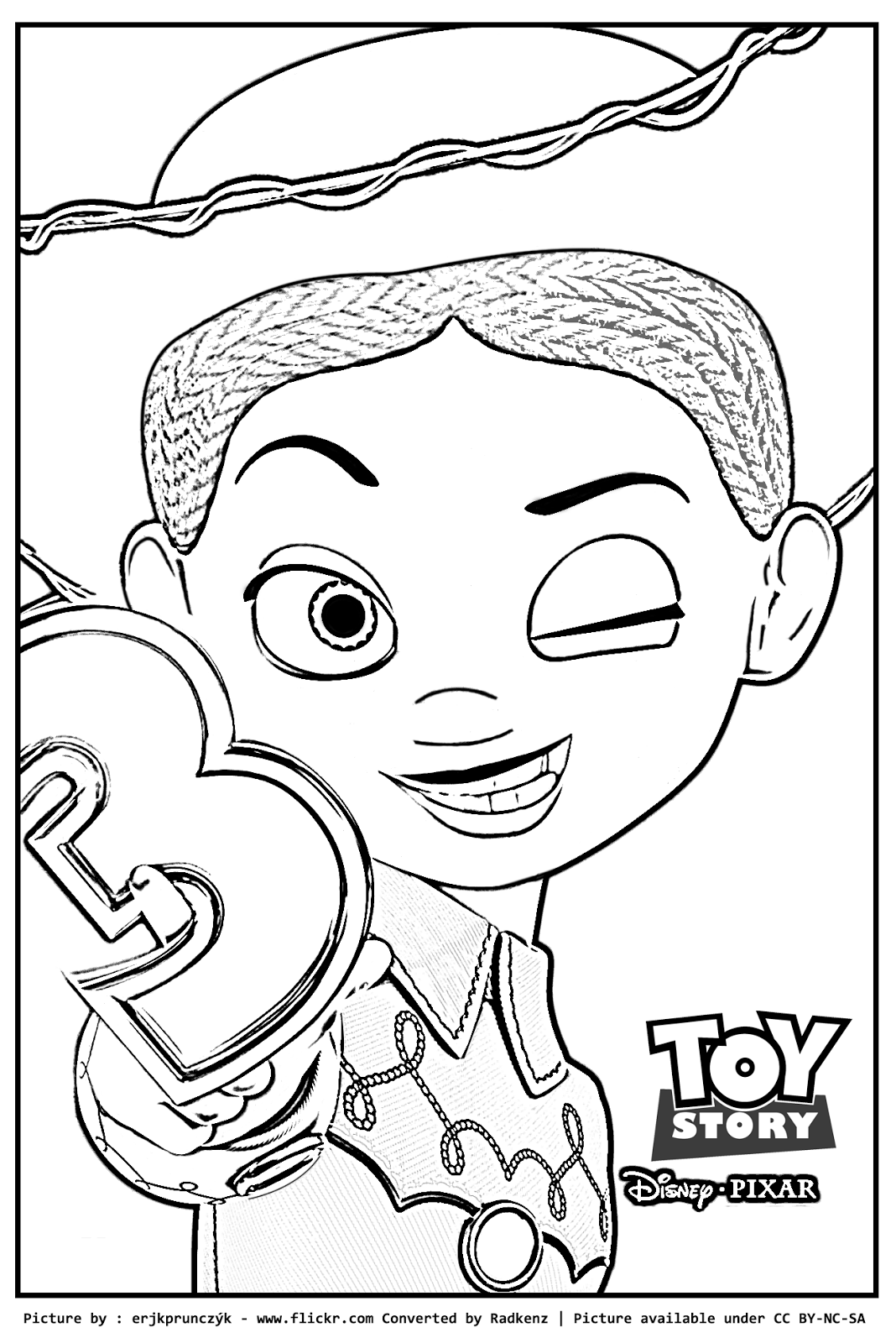 Coloring pages toy story - Toy Story Jessie Waving Coloring Page Kids Pages 510x648 Radkenz
