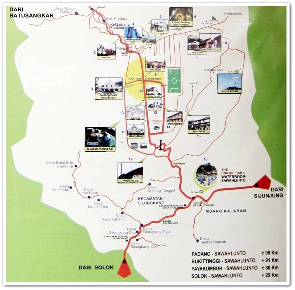 Peta Wisata Kota Sawahlunto Infosumbar