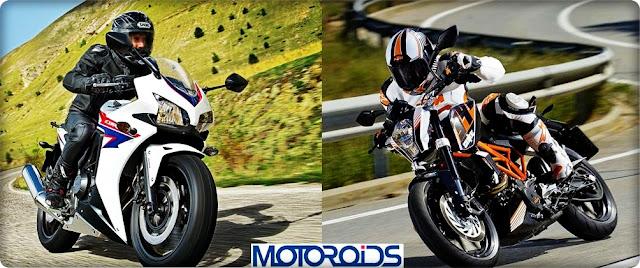 Honda cbr400r vs ktm duke 390