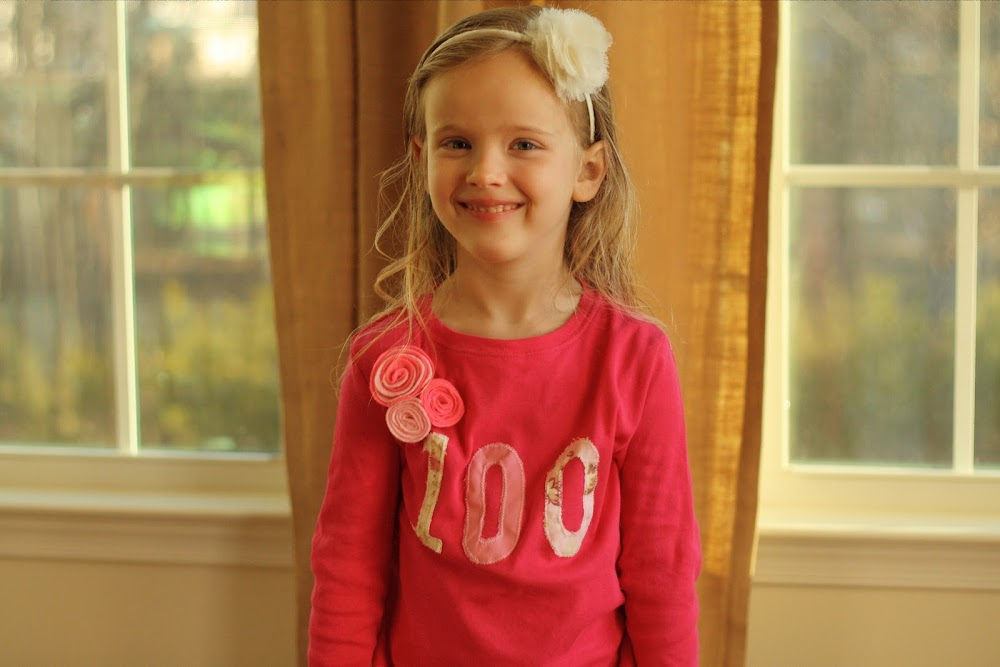 fabric applique 100th day shirt