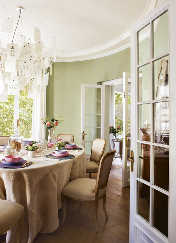 dining room with light green walls