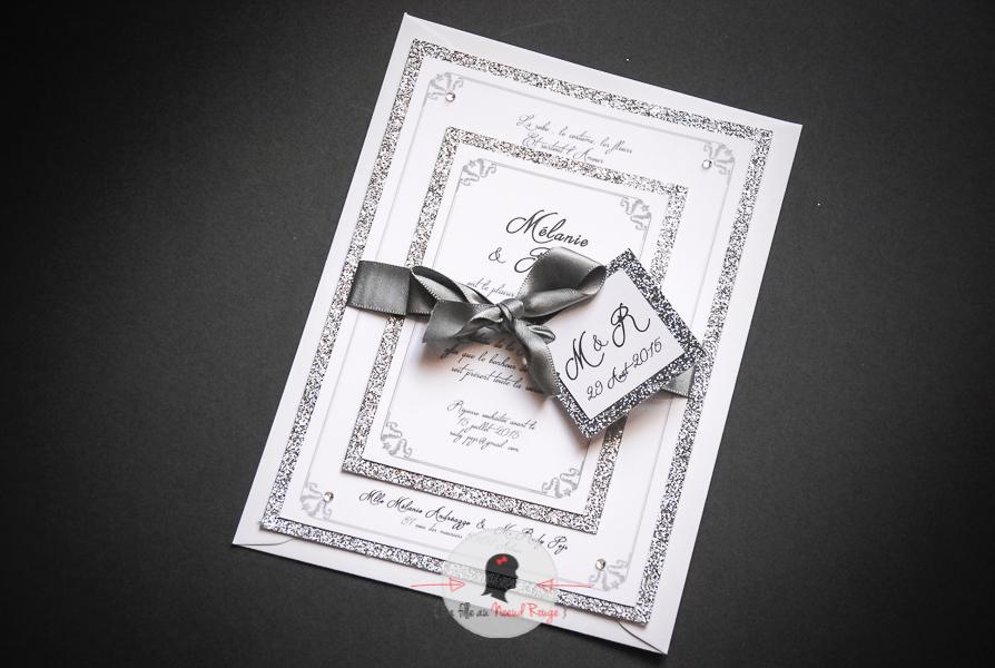 Très Strass et paillettes pour le faire-part de mariage chic de M&R  UF47