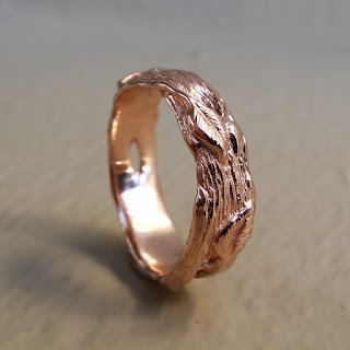 Hand Sculpted One-of-a-Kind Solid Gold Leaf & Twig Wedding Band, men's wedding band, men's jewelry, Dawn Vertrees. Wedding ring