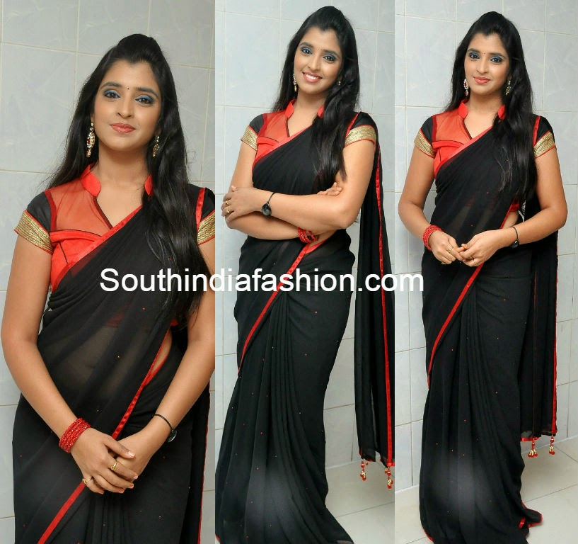 anchor syamala black saree