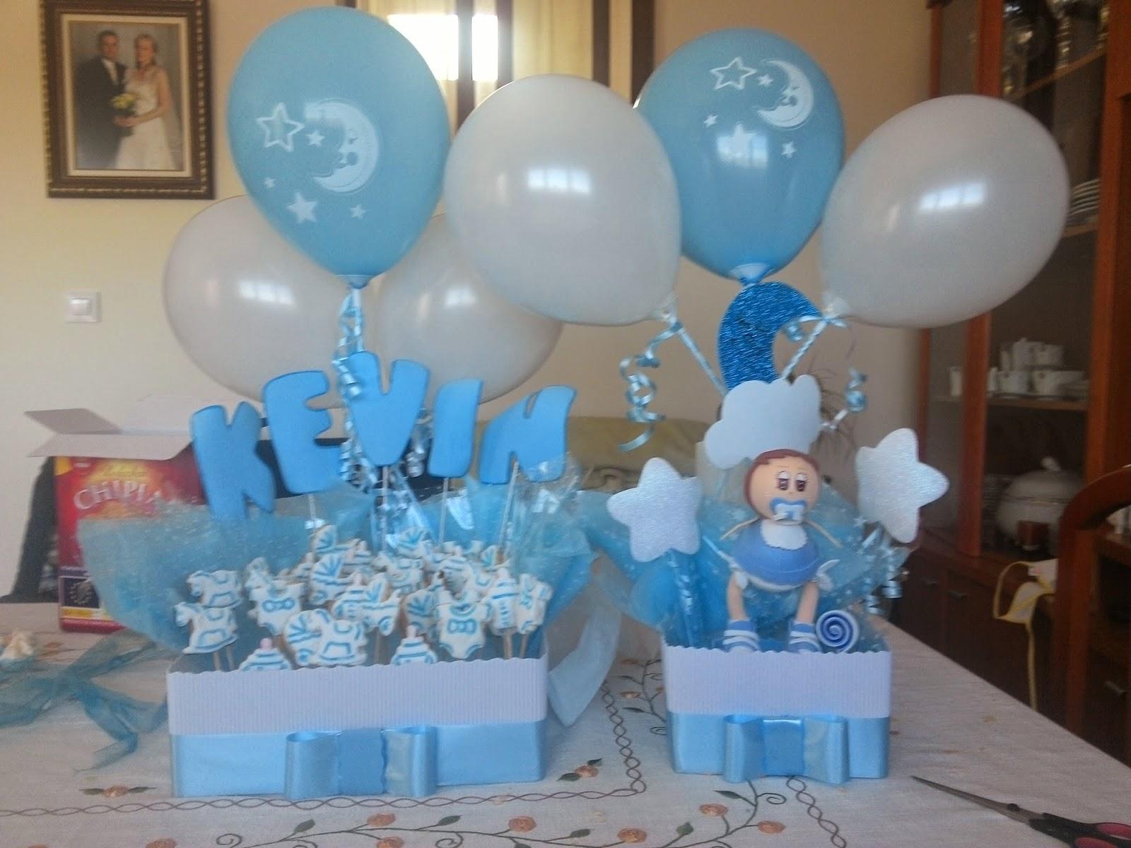 Creaciones naxi centro de mesa con globos for Decoracion de bautizo