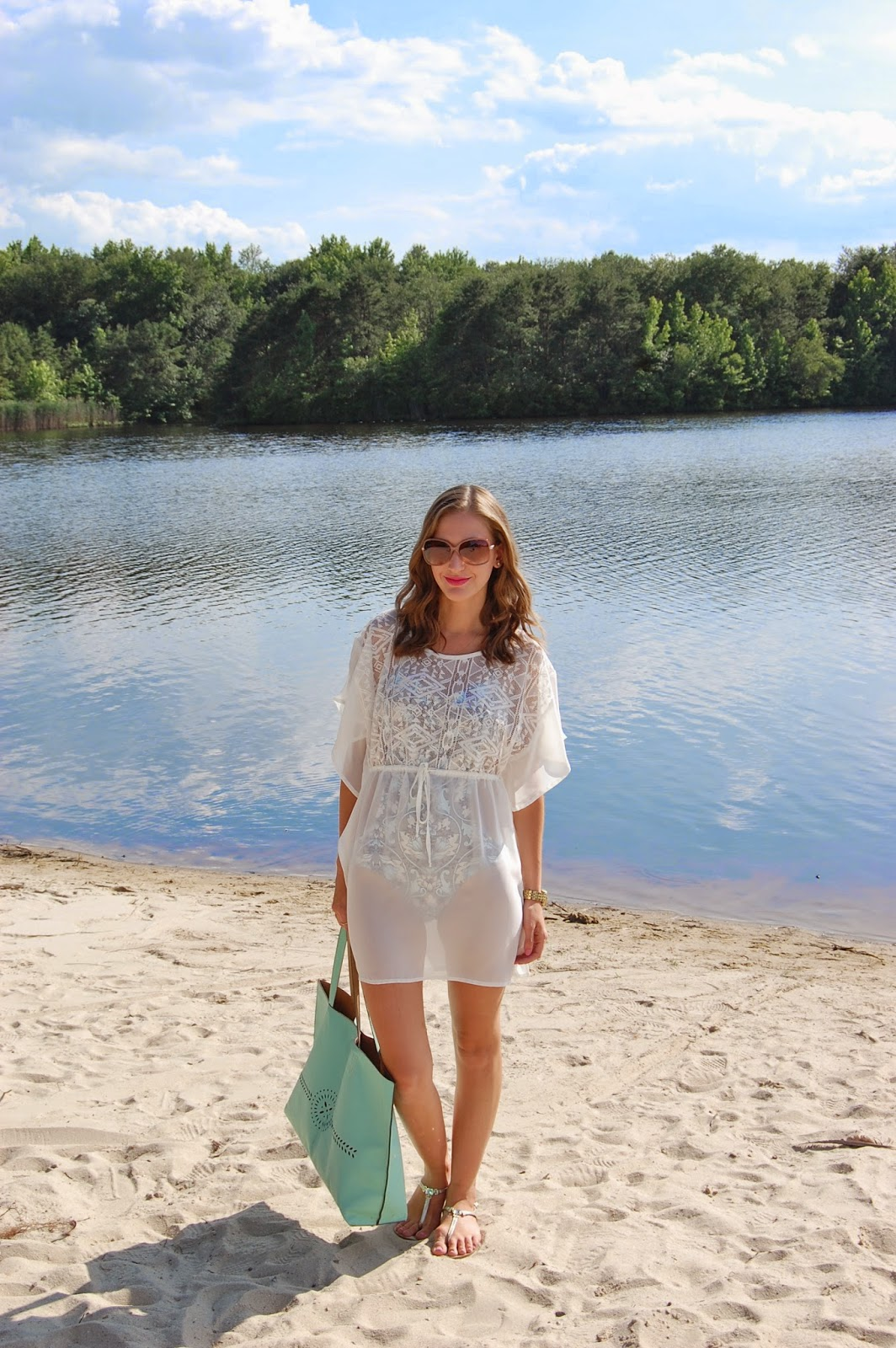 Wearing Wet Swimwear Melissa Swimsuit, Target Xhilaration Coverup swim dress