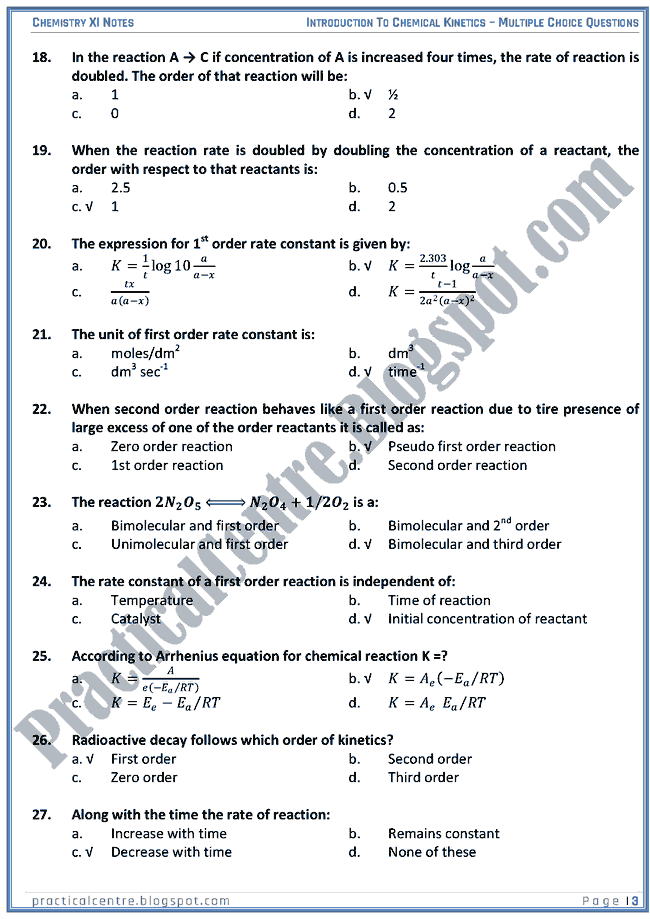 Introduction To Chemical Kinetics - MCQs - Chemistry XI