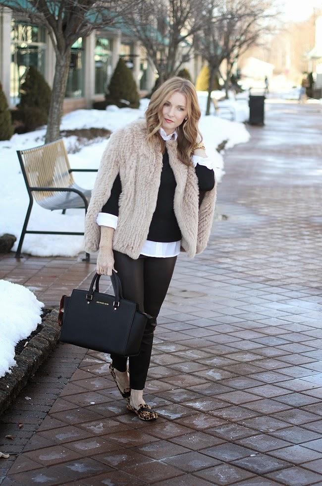 hbrand cape, jcrew sweater, old navy shirt, jcrew leather leggings, michael kors handbag