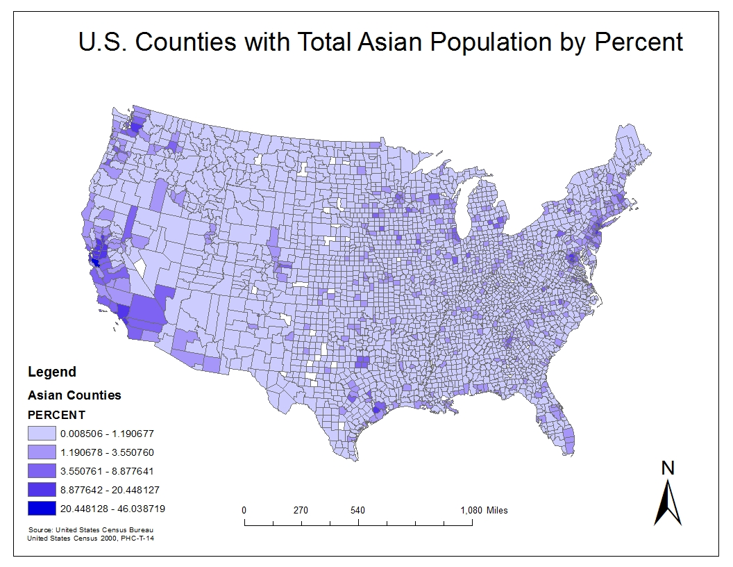 this second map shows the population density of asians by percent in the u s the highest total percent of asians is 20 46 which is much less compared to