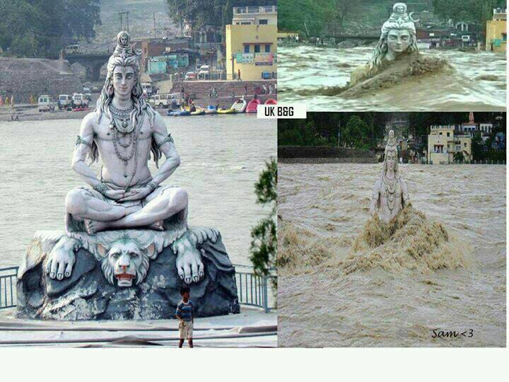 The statue of Lord Shiva on the bank of the Ganges in Rishikesh is    Uttarakhand Shiva Statue Now