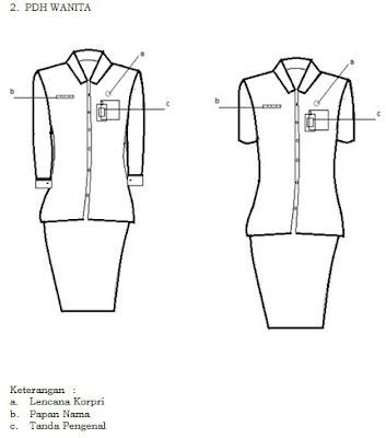 Gambar Model Pakaian Seragam PDH Kemeja Warna Putih yang akan dipakai PNS Wanita