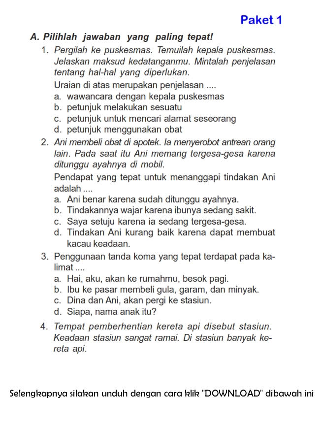 Download Soal Uts Ganjil Bahasa Indonesia Kelas 3 Semester 1 2015 2016 Rief Awa Blog