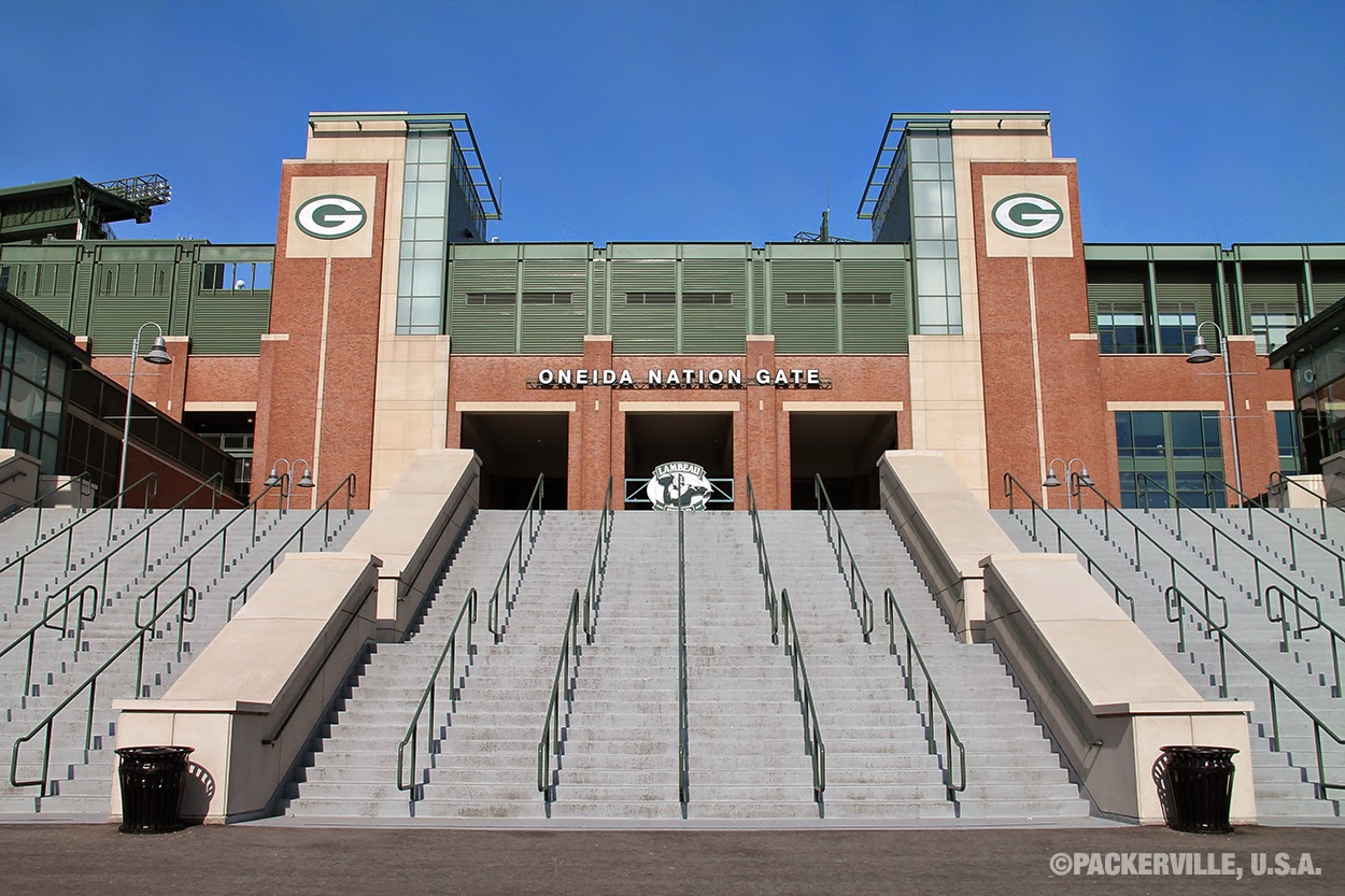 the oneida nation gate is currently the only access into the lambeau field atrium during this phase of construction