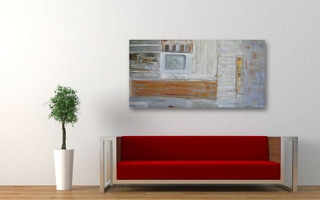 abstract art paintings in modern interior red sofa