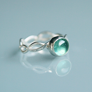 Silver sea-green tourmaline wave ring