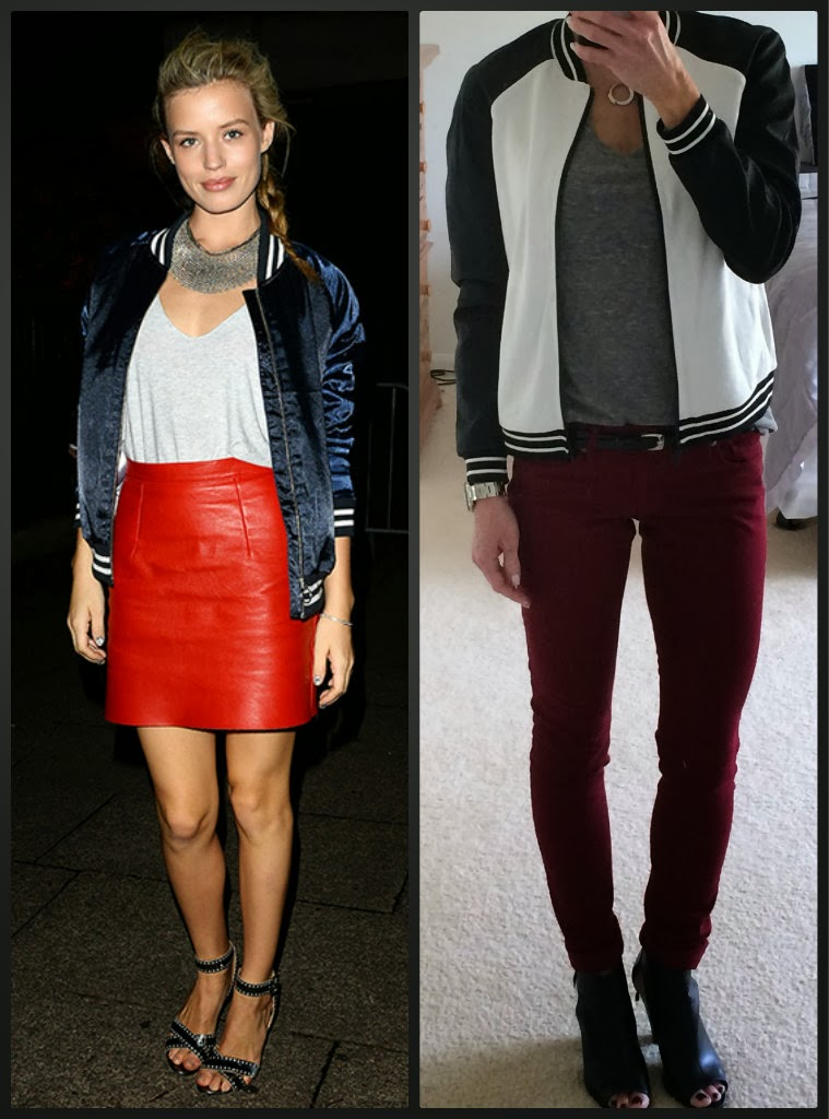 Express minus the leather perforated sleeve bomber jacket, baseball jacket, outfit idea