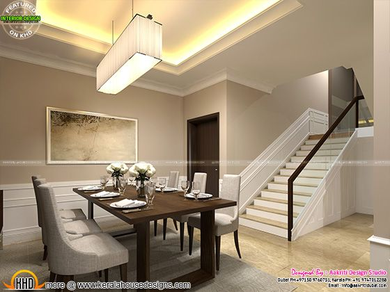Classic Style Interior Design For Living Room Stair Area