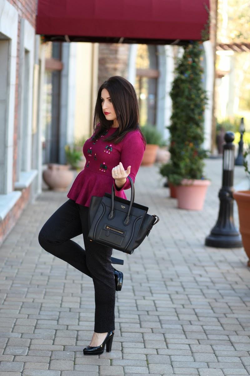 celine-mini-luggage-tote-calvin-klein-platform-heels-similar-to-charlotte-olympia-anthropologie-peplum-sweater-2014-fashion-trend-loft-leopard-pants-san-diego-fashion-blogger