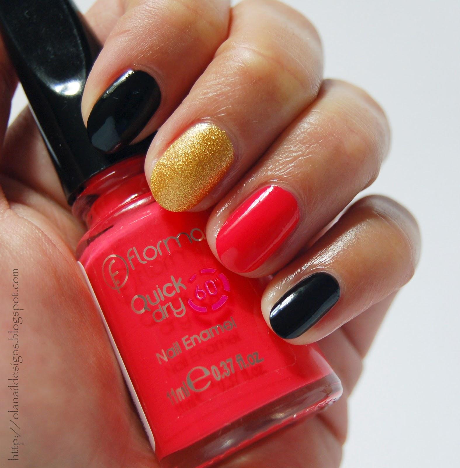 czarno czerwone złote paznokcie