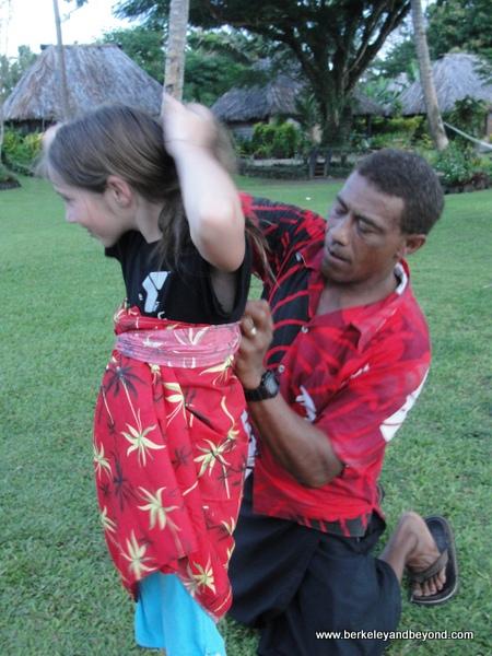 sulu-tying demonstration at Paradise Taveuni in Fiji