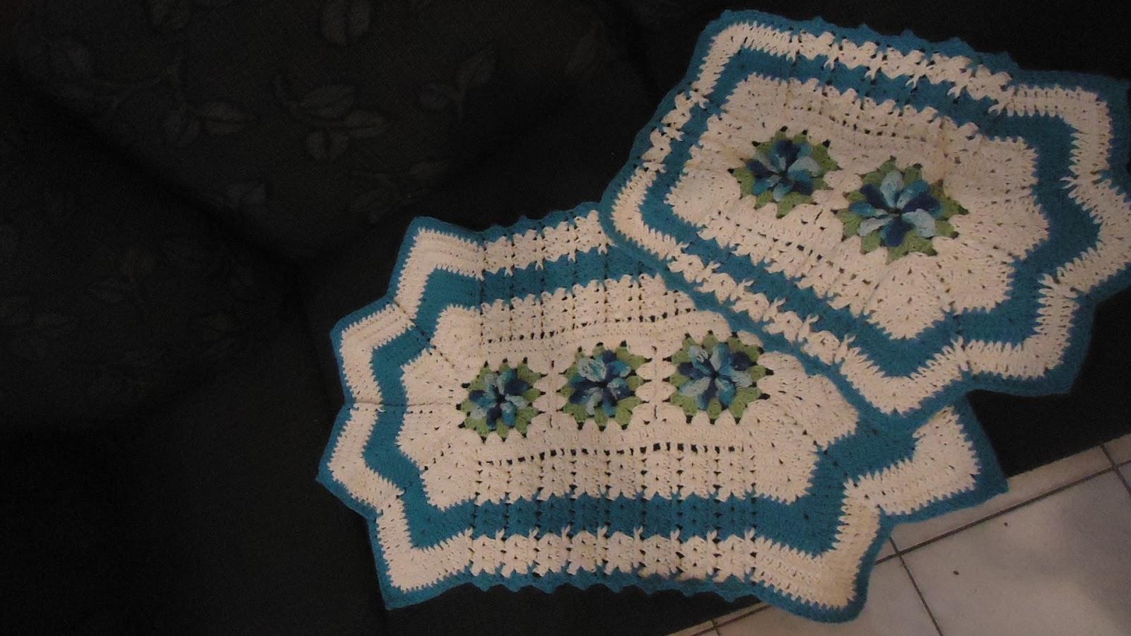'Crochê : Jogo simples de banheiro ideal para lavabo ou banheiros  #284D5A 1600x900 Banheiro Azul Simples