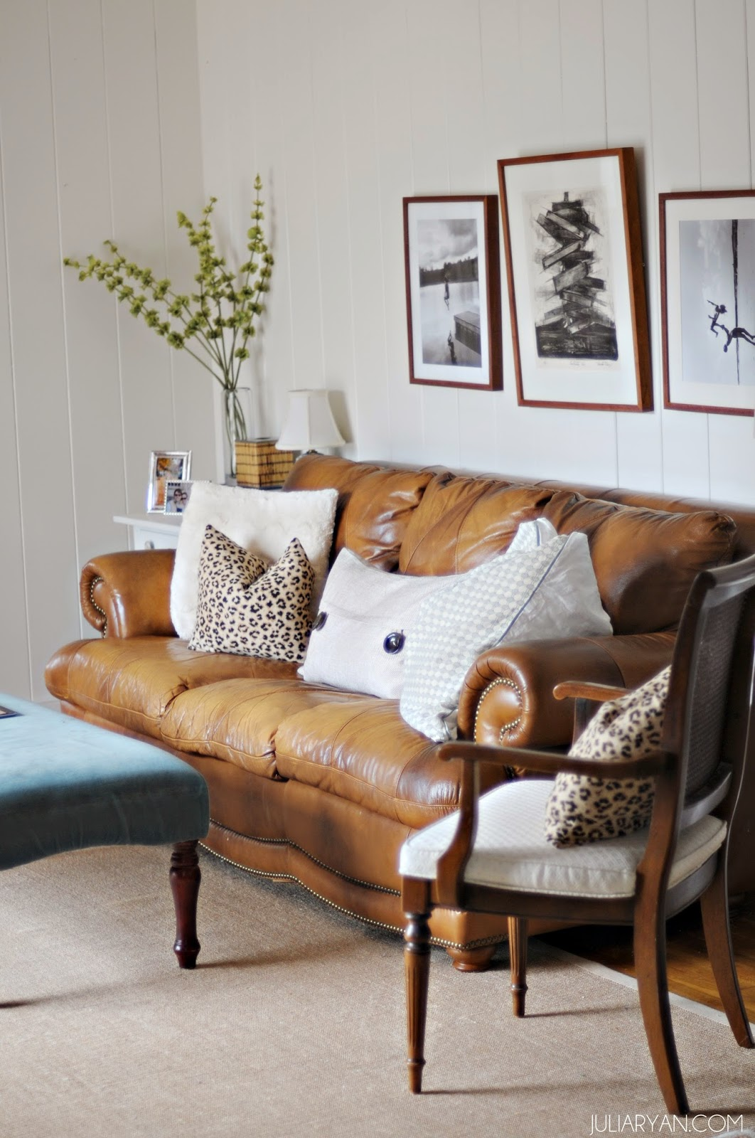 Julia ryan leather sofa styling new house family room for How much rooms does the white house have