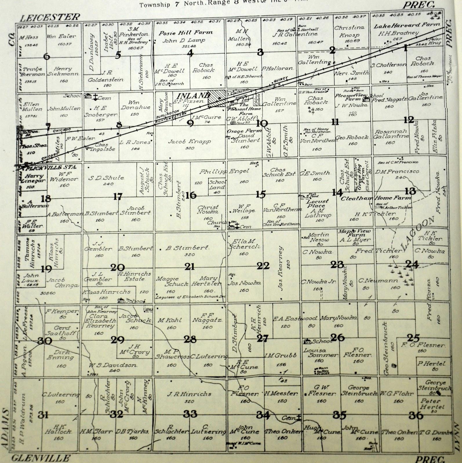 Sutton Nebraska Museum: 1908 Plat Map of Inland Township, Clay Countyinland township