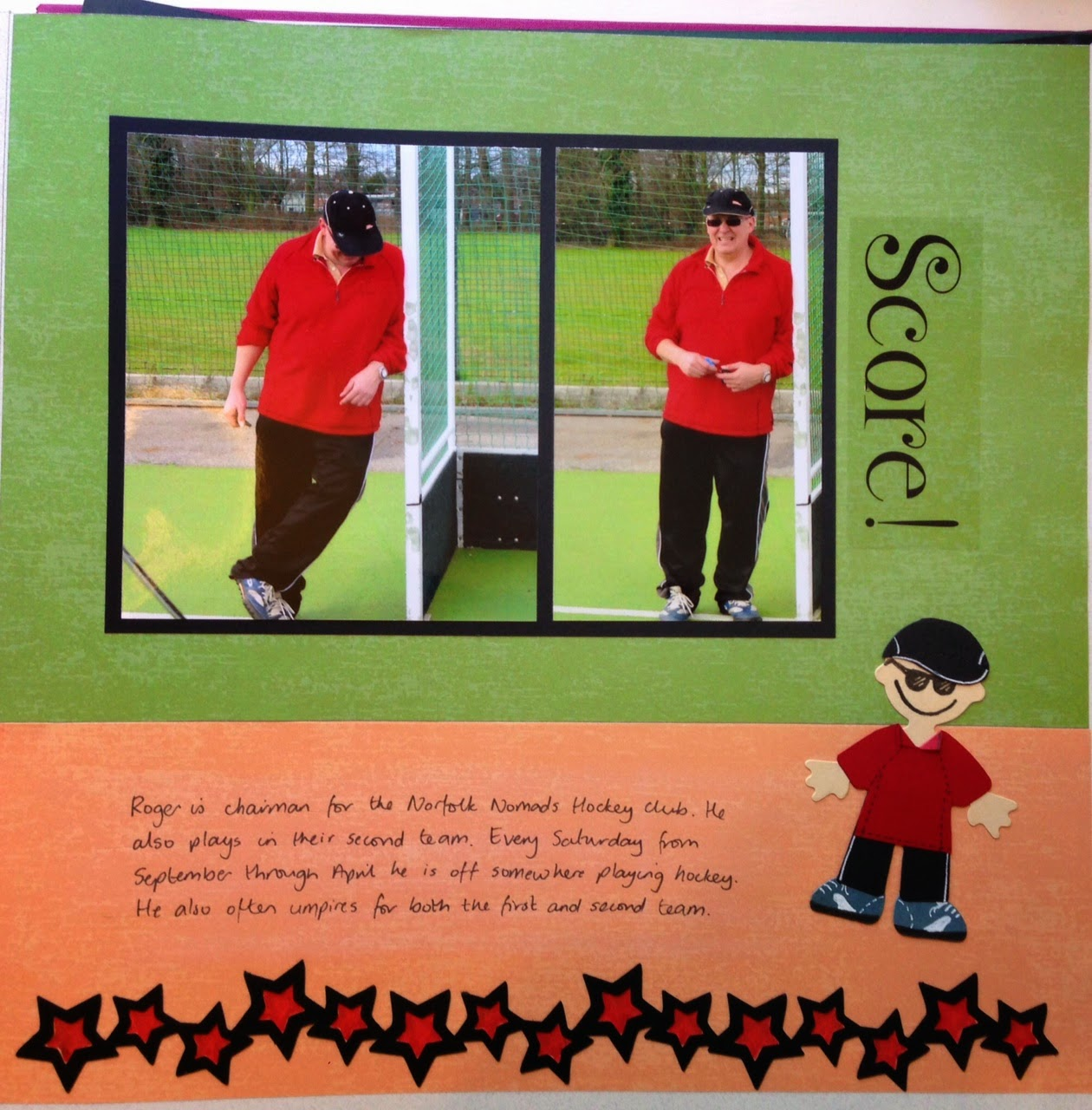 Hockey scrapbook page by Vicki Hibbins using Sizzix dies to create a mini-person