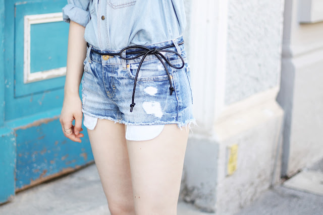denim shorts and oversized denim shirt