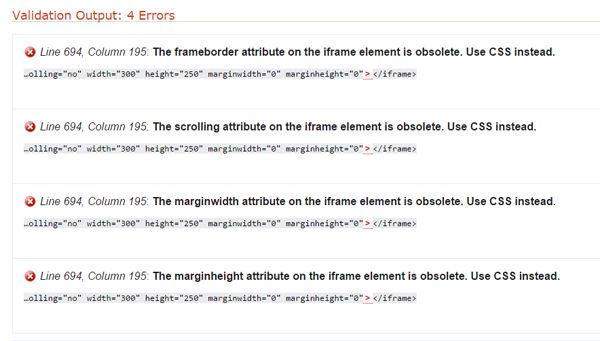 Pemasangan Iframe Error Valid HTML5