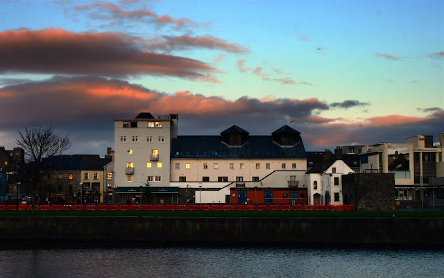 GALWAY CITY, Sunset, houses, Spanish Arch