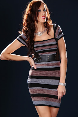 BLACK MULTI STRIPE FAUX LEATHER BANDAGE SEXY MINI DRESS