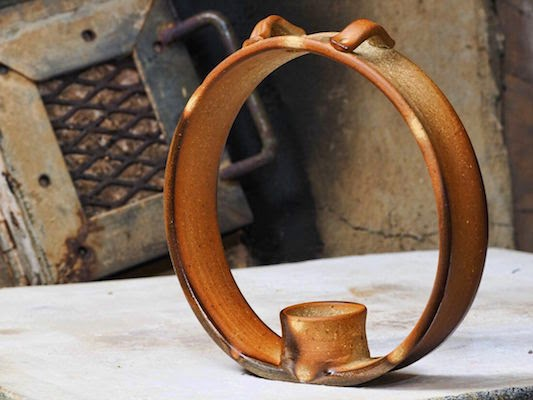 Woodfired Ceramic Candle Ring by Lori Buff