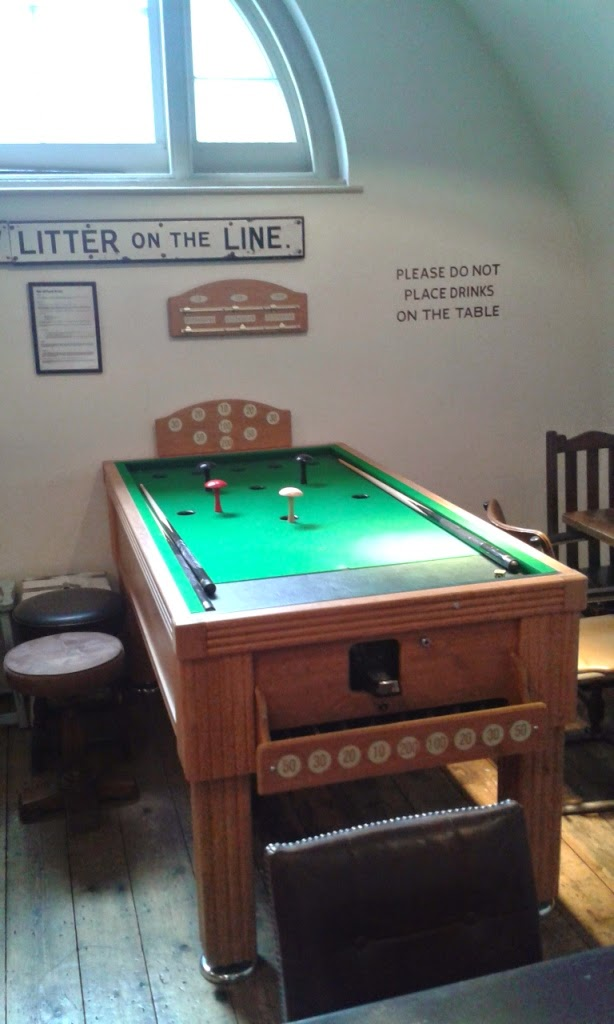 Bar Billiards table in the Games Room at The Parcel Yard pub in King's Cross station
