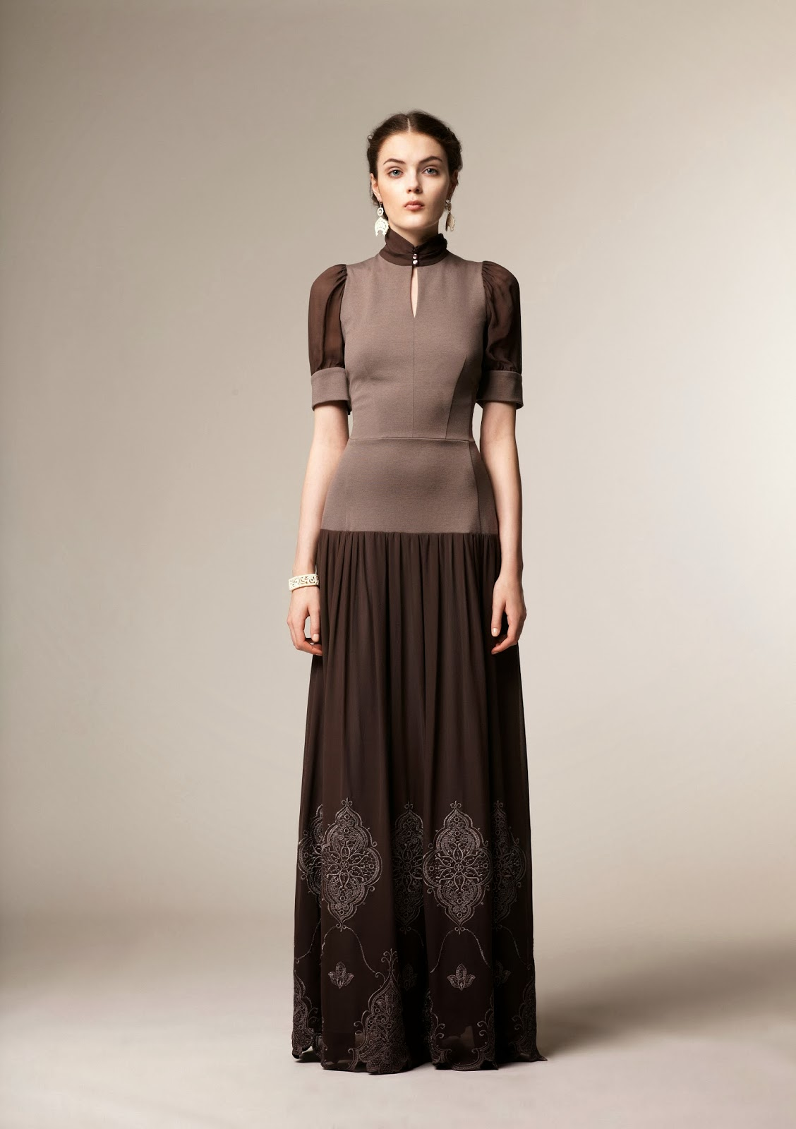 Short sleeve brown modest maxi dress