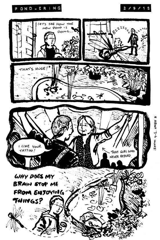 Comic where Alex sees a dragonfly by his pond; it reminds him of the tattoo a girl had who never called him back