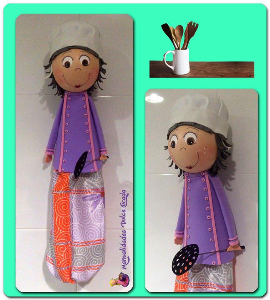 Manualidades dulce cucada guarda bolsas de cocina for Guardas para cocina