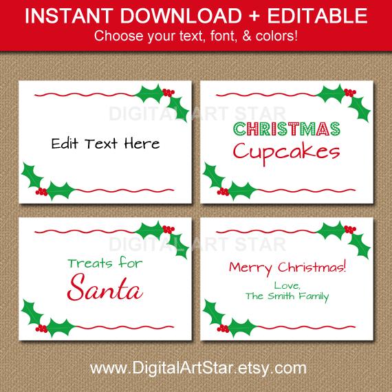 Printable Editable Holly Buffet Cards