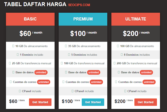 Tabel Harga Pricing Table resoponsive di Blog