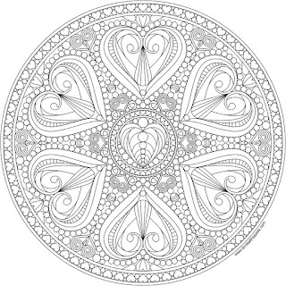 Hearts mandala to print and color- available in jpg and transparent PNG format