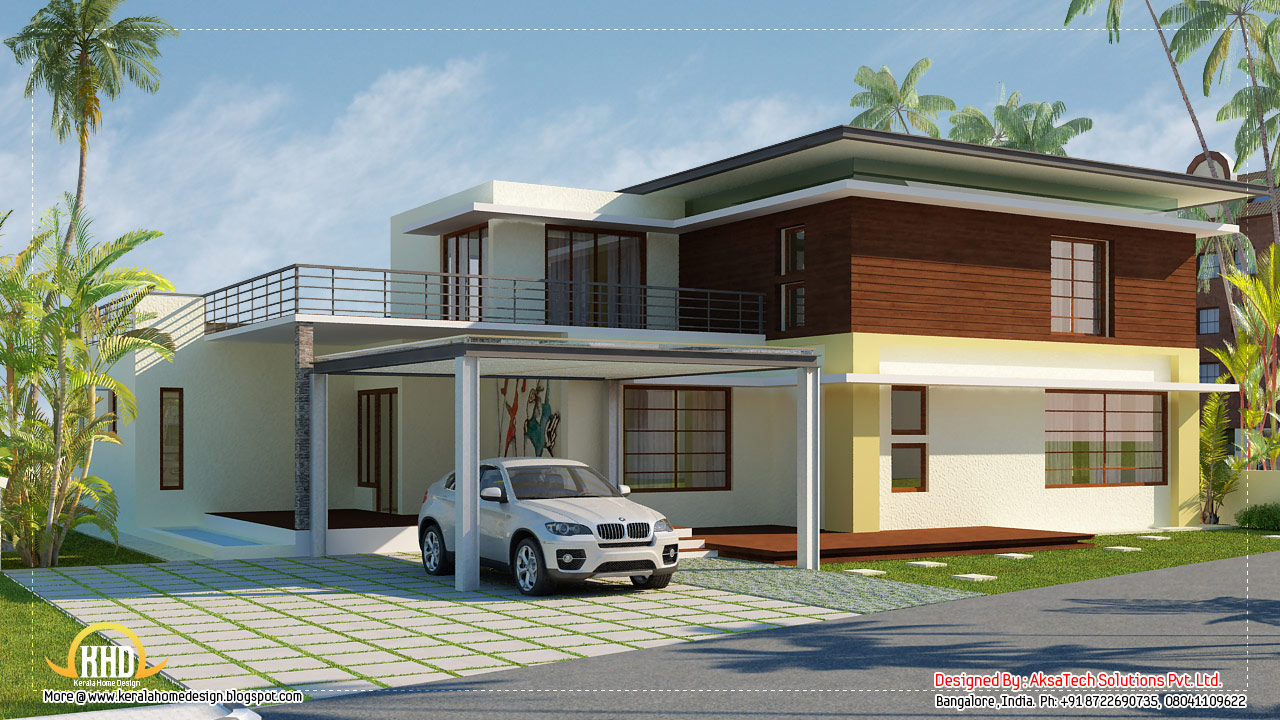 Front elevation modern house home decorating ideas for Modern home design 3d