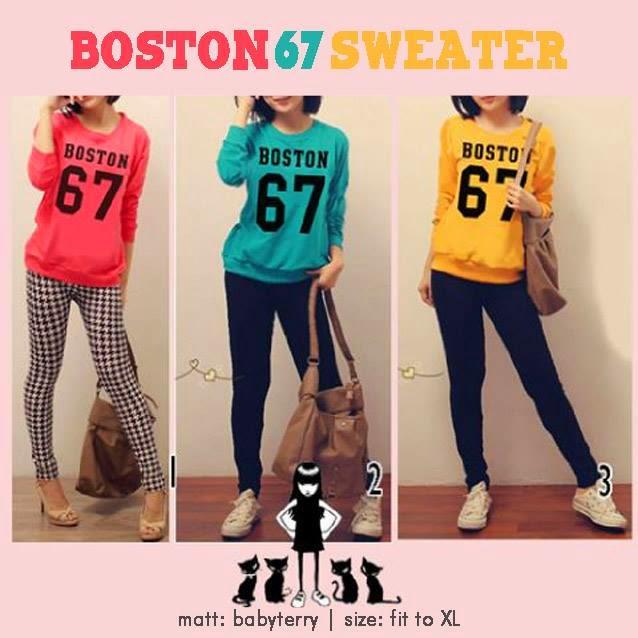 sweater boston, sweater wanita lucu, sweater keren buat cewe, baju online shop